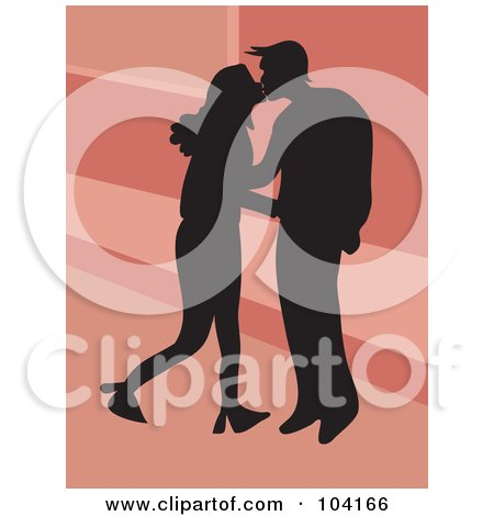 Royalty-Free (RF) Clipart Illustration of a Silhouetted Couple Kissing Over Pink by Prawny