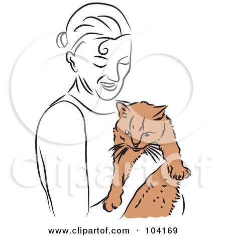 Royalty-Free (RF) Clipart Illustration of a Happy Woman Holding Her Cat by Prawny
