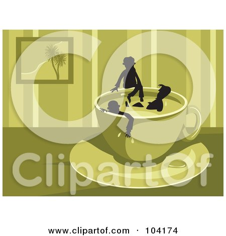 Royalty-Free (RF) Clipart Illustration of Silhouetted People Soaking In A Coffee Cup by Prawny