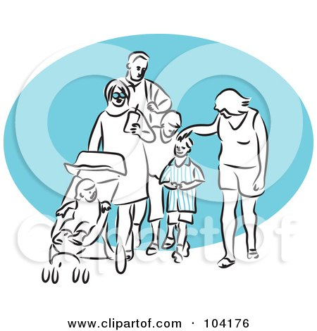 Royalty-Free (RF) Clipart Illustration of a Happy Family Walking by Prawny