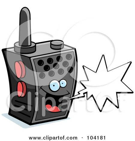 Royalty-Free (RF) Clipart Illustration of a Happy Walky Talky Character With A Word Balloon by Cory Thoman