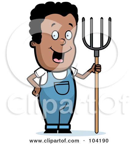 Royalty-Free (RF) Clipart Illustration of a Happy Black Farmer Boy With A Pitchfork by Cory Thoman
