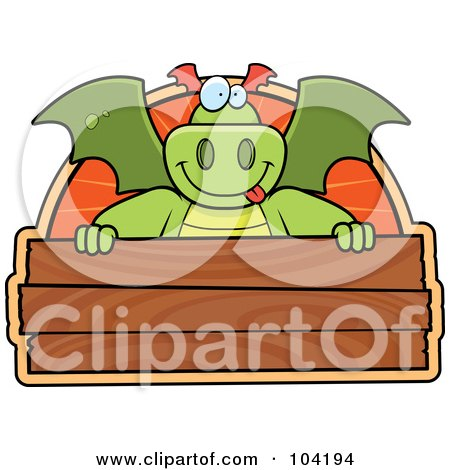 Royalty-Free (RF) Clipart Illustration of a Goofy Dragon Over A Wooden Sign by Cory Thoman
