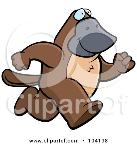 Royalty-Free (RF) Clipart Illustration of a Running Platypus by Cory Thoman