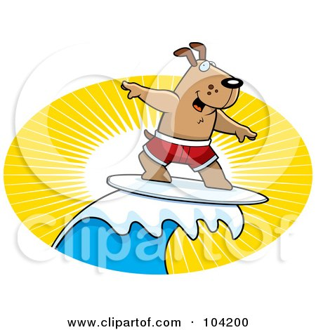 Royalty-Free (RF) Clipart Illustration of a Surfer Dog Riding A Wave At Sunset by Cory Thoman