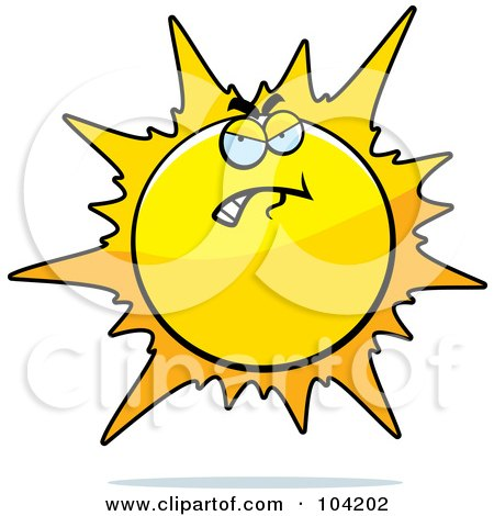 Royalty-Free (RF) Clipart Illustration of a Grouchy Or Bad Sun by Cory Thoman