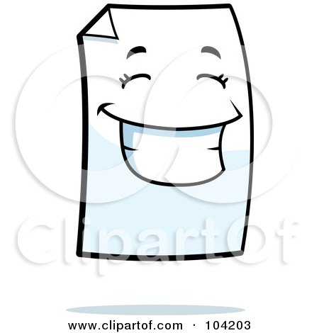 Royalty-Free (RF) Clipart Illustration of a Piece Of Paper With A Smile by Cory Thoman