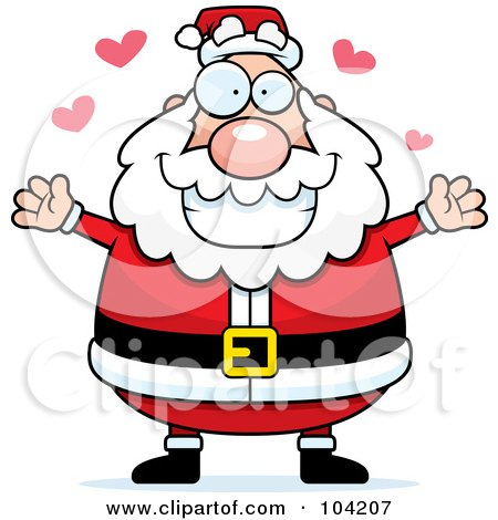 Royalty-Free (RF) Clipart Illustration of a Chubby Amorous Santa by Cory Thoman