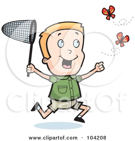 Royalty-Free (RF) Clipart Illustration of an Energetic Blond Boy Chasing Butterflies With A Net by Cory Thoman
