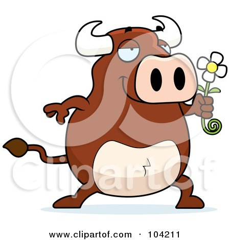 Royalty-Free (RF) Clipart Illustration of a Romantic Bull Holding Out A Daisy by Cory Thoman