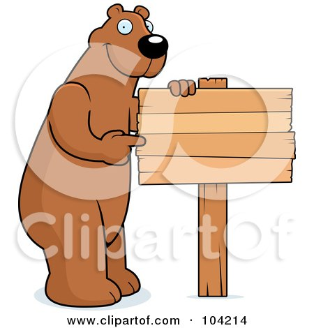 Royalty-Free (RF) Clipart Illustration of a Tall Bear Pointing To A Blank Wood Sign by Cory Thoman