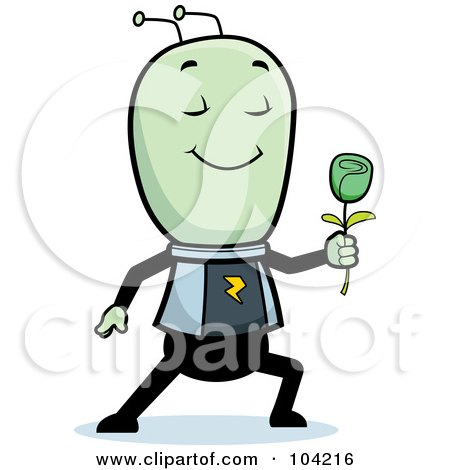 Royalty Free RF Clipart Illustration Of A Romantic Alien Giving A Green Rose