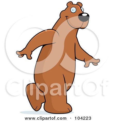 Royalty-Free (RF) Clipart Illustration of a Tall Bear Walking Upright by Cory Thoman