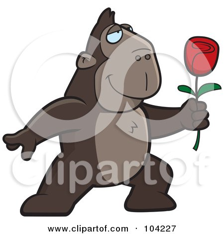 Royalty-Free (RF) Clipart Illustration of a Romantic Ape Presenting A Single Red Rose by Cory Thoman