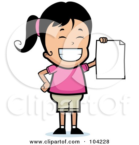 Royalty-Free (RF) Clipart Illustration of a Grinning Black Haired Girl Holding Up A Blank Report Card by Cory Thoman