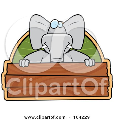 Royalty-Free (RF) Clipart Illustration of a Goofy Elephant Over A Wooden Sign by Cory Thoman