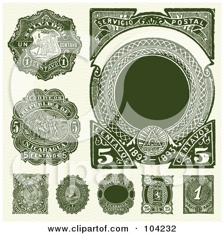 Royalty-Free (RF) Clipart Illustration of a Digital Collage Of Vintage Green Spanish Stamps by BestVector