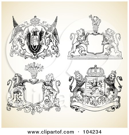 Royalty-Free (RF) Clipart Illustration of a Digital Collage Of Medieval Animal Crest Designs by BestVector