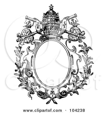 Royalty-Free (RF) Clipart Illustration of a Black And White Medieval Crest Design With A Crown And Keys by BestVector
