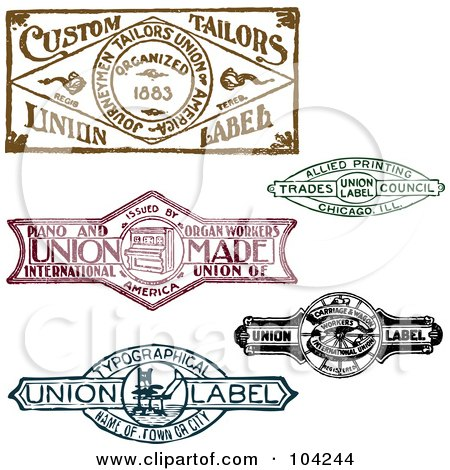 Royalty-Free (RF) Clipart Illustration of a Digital Collage Of Retro Union Labels by BestVector