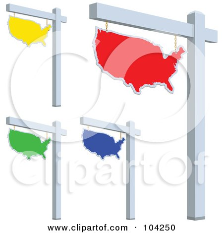 Royalty-Free (RF) Clipart Illustration of a Digital Collage Of Colorful USA For Sale Signs by BestVector