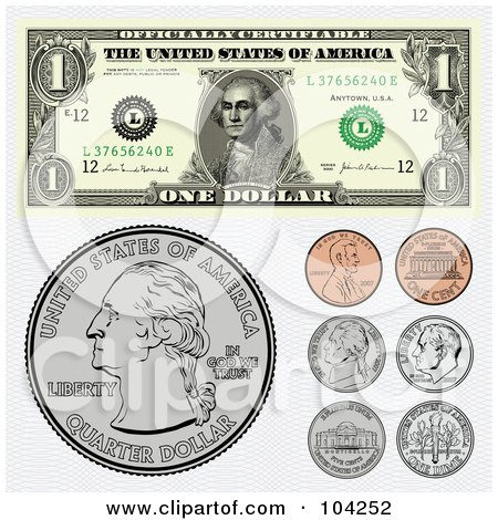 Royalty-Free (RF) Clipart Illustration of a Digital Collage Of American Coins And A Dollar Bill by BestVector