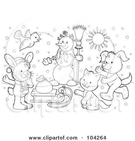 Winter Coloring Pages on Free  Rf  Clipart Illustration Of A Coloring Page Outline Of A Winter