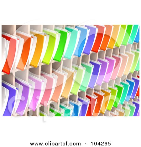 Royalty-Free (RF) Clipart Illustration of a Wall Of Colorful 3d Folders And Documents Organized And Archived In Shelves by Tonis Pan