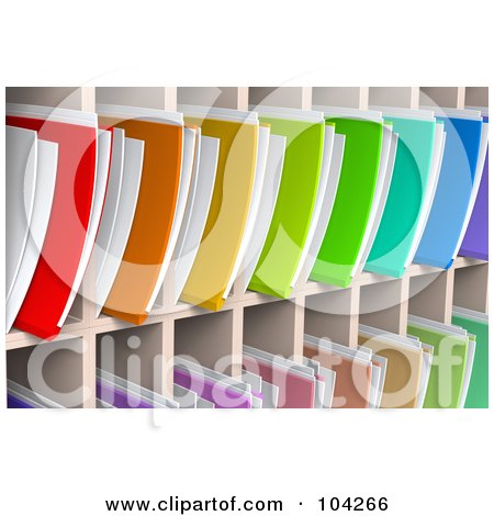 Royalty-Free (RF) Clipart Illustration of a Wall Of Colorful 3d File Folders And Documents Organized And Archived In Shelves by Tonis Pan