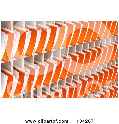 Royalty-Free (RF) Clipart Illustration of a Wall Of Orange 3d Folders And Documents Organized And Archived In Shelves by Tonis Pan