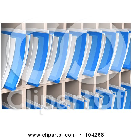 Royalty-Free (RF) Clipart Illustration of a Wall Of Blue 3d Folders And Documents Organized And Archived In Shelves by Tonis Pan
