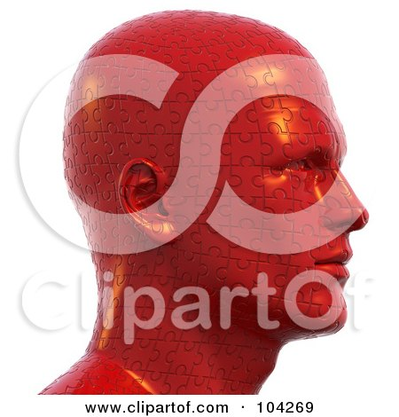 Royalty-Free (RF) Clipart Illustration of a 3d Bust Head Made Of Red Jigsaw Puzzle Pieces by Tonis Pan