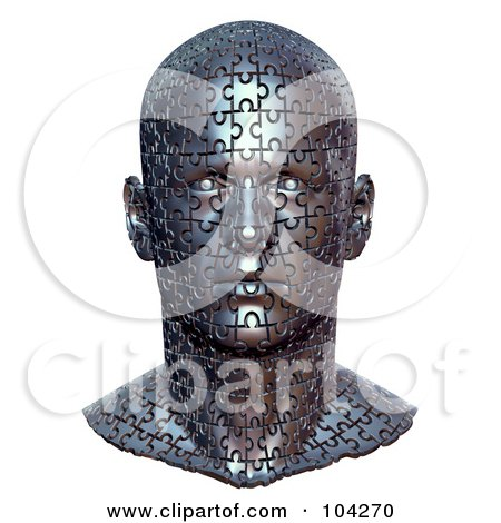 Royalty-Free (RF) Clipart Illustration of a 3d Metal Bust Head Made Of Jigsaw Puzzle Pieces by Tonis Pan
