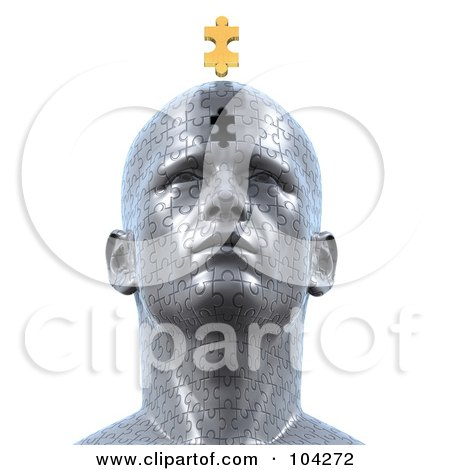 Royalty-Free (RF) Clipart Illustration of a 3d Puzzle Head With The Final Golden Piece Floating Over The Empty Space by Tonis Pan