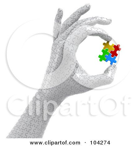 Royalty-Free (RF) Clipart Illustration of a 3d Puzzle Hand Holding Colorful Puzzle Pieces by Tonis Pan