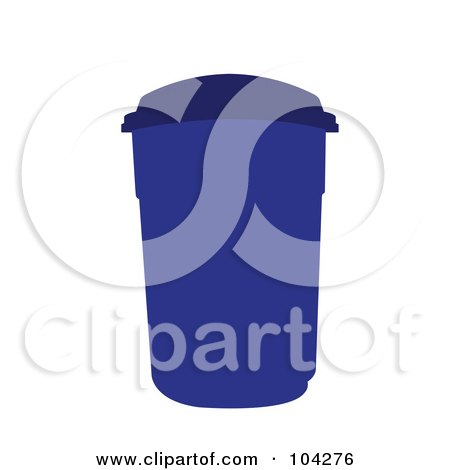 Royalty-Free (RF) Clipart Illustration of a Blue Trash Can by JR