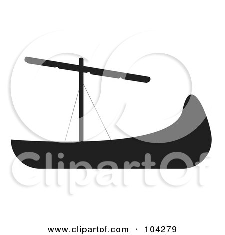 Royalty-Free (RF) Clipart Illustration of a Silhouetted Black Ship by JR