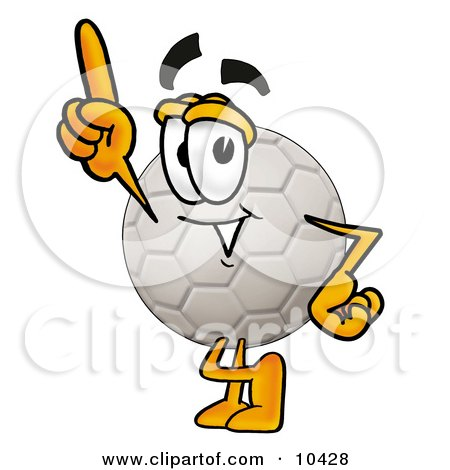 Clipart Picture of a Soccer Ball Mascot Cartoon Character Pointing Upwards by Toons4Biz