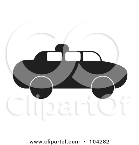Royalty-Free (RF) Clipart Illustration of a Silhouetted Black Taxi by JR