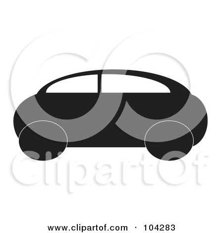 Royalty-Free (RF) Clipart Illustration of a Silhouetted Black Car by JR
