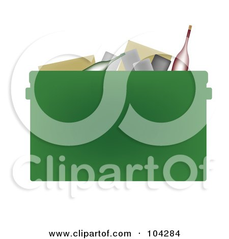 Royalty-Free (RF) Clipart Illustration of a Bottles And Cans In A Green Recycle Bin by JR