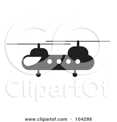 Royalty-Free (RF) Clipart Illustration of a Silhouetted Black Helicopter by JR