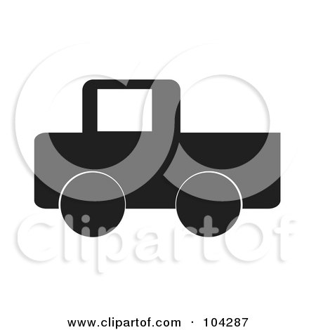 Royalty-Free (RF) Clipart Illustration of a Silhouetted Black Pickup Truck by JR