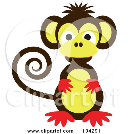 Royalty-Free (RF) Clipart Illustration of a Cute Brown, Red And Yellow Monkey With A Curled Tail by kaycee