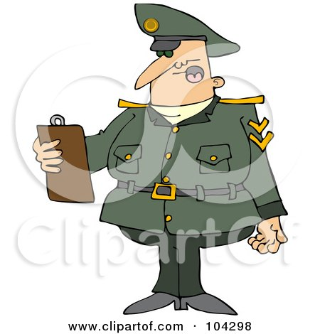 Royalty-Free (RF) Clipart Illustration of an Army Man Reading A List From A Clipboard by djart