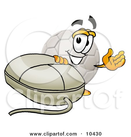 Clipart Picture of a Soccer Ball Mascot Cartoon Character With a Computer Mouse by Toons4Biz