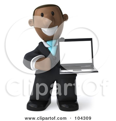 Royalty-Free (RF) Clipart Illustration of a 3d Black Business Man Facing Right And Holding A Laptop by Julos