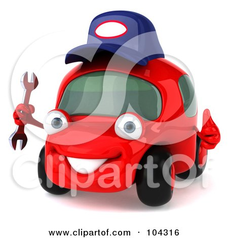 Royalty-Free (RF) Clipart Illustration of a 3d Red Automobile Mechanic Holding A Wrench by Julos