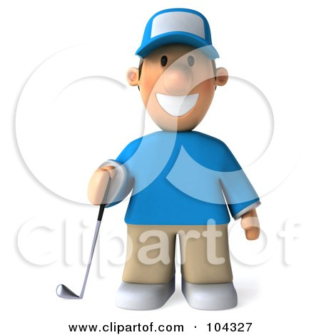 Royalty-Free (RF) Clipart Illustration of a 3d Golfer Toon Guy Facing Front And Holding A Club by Julos