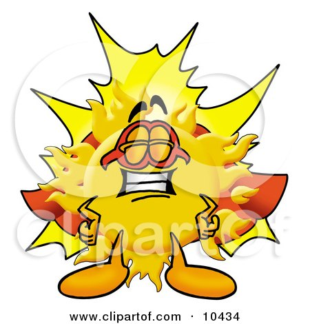 Clipart Picture of a Sun Mascot Cartoon Character Dressed as a Super Hero by Toons4Biz